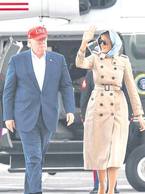President Trump and Melania about to fly back to the US