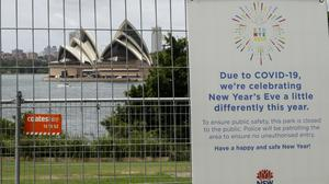 The park near the Sydney Opera House is fenced off (AP/Mark Baker)