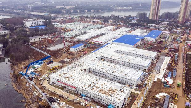 The Huoshenshan temporary field hospital nears completion in Wuhan (Chinatopix/AP)