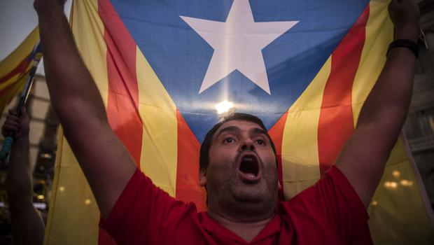A pro-independence supporter holds up a Catalan flag (AP/Santi Palacios)