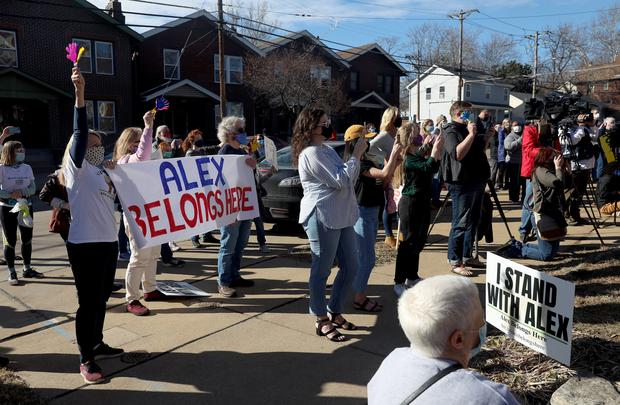 A crowd of family, friends and supporters outside the church (Laurie Skrivan/St Louis Post-Dispatch via AP)