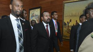 Ethiopia's prime minister Abiy Ahmed, centre (AP)