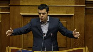 """Alexis Tsipras lashed out at Europe's """"inability to defend its values"""""""