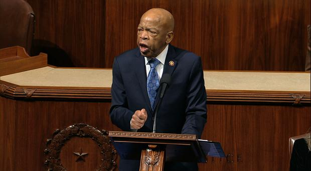 John Lewis on the floor of the House of Representatives (AP)