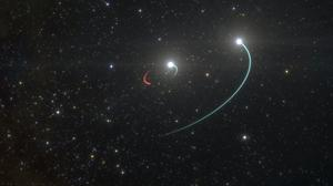 Illustration showing orbits of the objects in the HR 6819 triple system (European Southern Observatory/AP)
