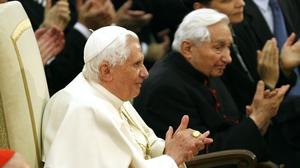 File photo of Emeritus Pope Benedict XVI and his brother Georg, right (Andrew Medichini/AP)