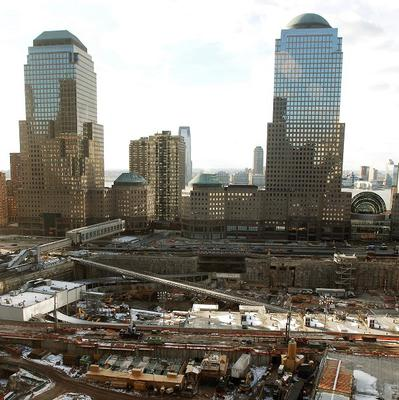 The site where the World Trade Centre twin towers stood before being destroyed in the September 11 2001 attacks