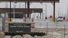 The main gate at Dugway Proving Ground military base in Utah where the live anthrax samples were shipped from (AP)