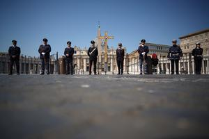 St Peter's Square at the Vatican would normally be packed with crowds of faithful (Andrew Medichini/PA)