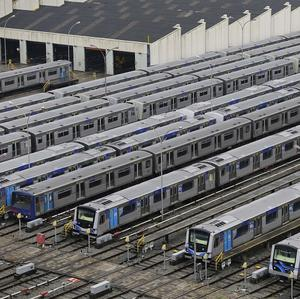 Metro trains sit parked on the second day of a strike by the operators in Sao Paulo (AP)