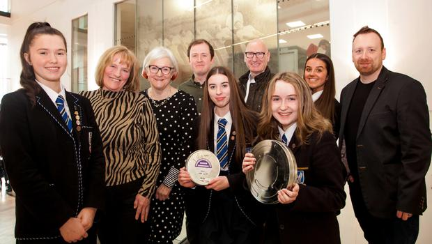 Students from Glenlola Collegiate at a special screening of the Prisons Memory Archive (PMA) at the Public Record Office. Taking part in the event were speakers Angela Nelson, Joanna McMinn and Billy Hutchinson with Conor McCafferty (PMA project manager) and Sean Kelly of Into Film