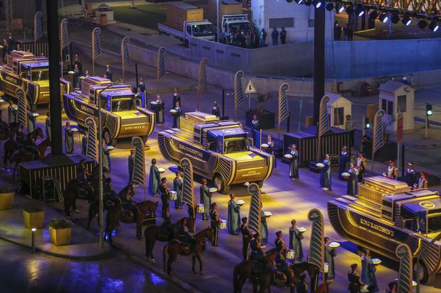 The parade celebrated the transport of 22 royal mummies to the newly opened National Museum of Egyptian Civilisation (AP)