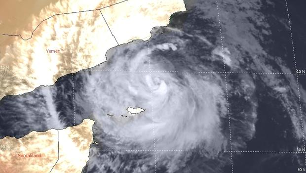 Satellite image showing the storm heading for the coast of Oman