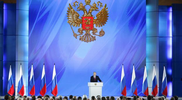Russian President Vladimir Putin addresses the State Council in Moscow, Russia (Alexander Zemlianichenko/AP)