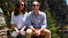 The Duke and Duchess of Cambridge during a trek to the Tiger's Nest Monastery near Paro in Bhutan