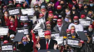President Donald Trump speaks at a rally at Southern Wisconsin Regional Airport on Saturday (Scott P Yates/Rockford Register Star/AP)