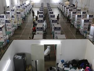 Several sports and events venues have been converted as quarantine facilities or testing centres in the Philippines (AP/Aaron Favila)