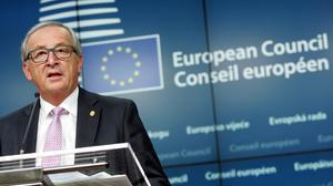 European Commission president Jean-Claude Juncker speaks during a media conference after the summit. (AP)