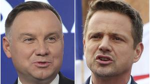 Poland's President Andrzej Duda and Warsaw Mayor Rafal Trzaskowski sre heading into a knife-edge run-off election that is seen as an important test of populism in Europe after a campaign that exacerbated a conservative-liberal divide in the country (Czarek Sokolowski/AP)