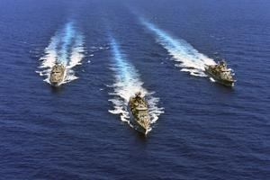 Warships take part in a military exercise in the eastern Mediterranean sea (Greek Defense Ministry via AP)