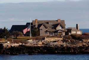 The US flag flies at half-staff in honour of former president George HW Bush at Walker's Point, the Bush's summer home in Maine