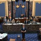 US President Donald Trump's impeachment trial gets under way in the Senate on Tuesday (Senate Television via AP)