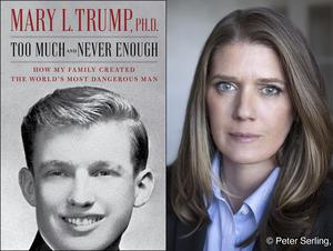 The cover of Too Much And Never Enough: How My Family Created The World's Most Dangerous Man, left, and author Mary L Trump (Simon and Schuster, left, and Peter Serling/Simon and Schuster/AP)
