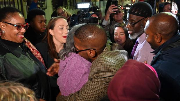 Alfred Chestnut hugs his mother Sarah after his release (Jerry Jackson/The Baltimore Sun/AP)