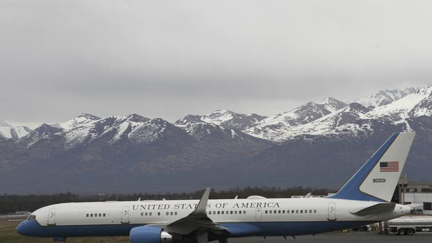 The US government plane left Pyongyang with the detainees on Wednesday (Mark Thiessen/AP)