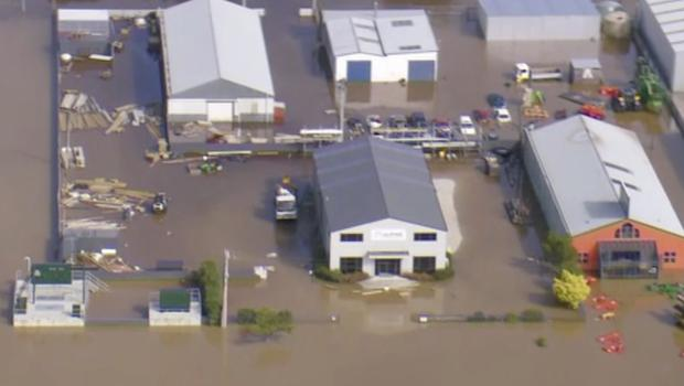 Buildings are submerged in floodwaters in Gore, New Zealand (Newshub via AP)