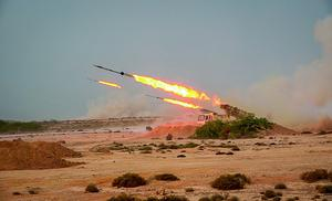 Missiles are fired in a Revolutionary Guard military exercise (Sepahnews via AP)
