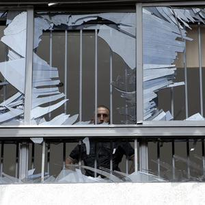 One of the building hit by the blast (AP)
