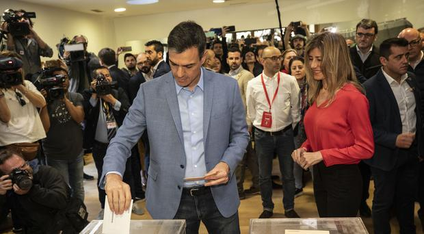 Spanish Prime Minister and Socialist Party candidate Pedro Sanchez casts his vote (Bernat Armangue/AP)