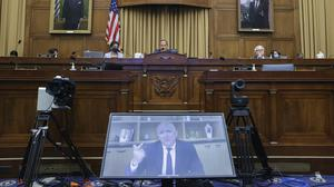 Amazon CEO Jeff Bezos speaks via video conference during a House Judiciary sub-committee hearing on anti-trust in Washington in July (Graeme Jennings/Pool/AP)