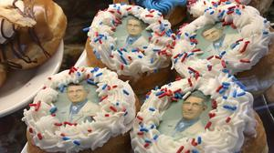 Doughnuts bearing the likeness of Dr Anthony Fauci, director of the National Institute of Allergy and Infectious Diseases (Shawn Dowd/Democrat and Chronicle via AP)