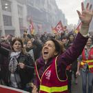 A protester chants slogans during a demonstration in Marseille, southern France (Daniel Cole/AP)