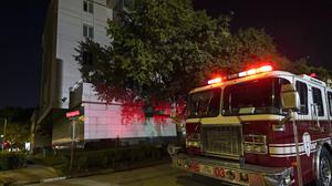 A fire engine outside the Chinese consulate in Houston (David J Phillip/AP)
