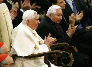 Then Pope Benedict XVI and his brother Georg, right, attend a concert by the Symphonic Orchestra Bayerischer Rundfunk and the Bamberger Symphoniker in 2007 (Andrew Medichini/AP)