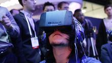 A video game using Oculus Rift virtual reality headsets is demonstrated at the International Consumer Electronics Show in Las Vegas (AP)