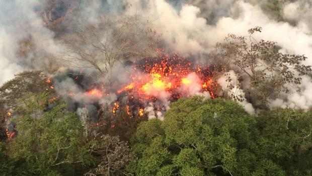 Lava fissures have destroyed more than two dozen homes (US Geological Survey/AP)