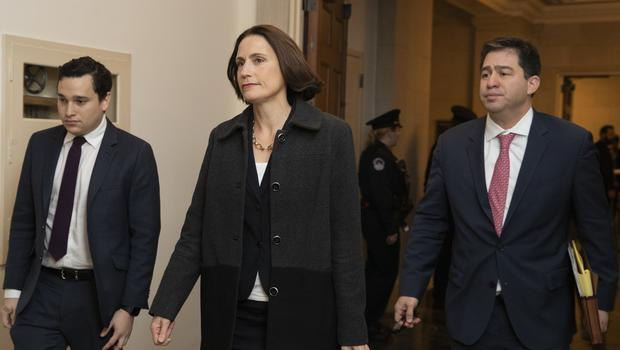 Former White House national security aide Fiona Hill arrives to testify before the House Intelligence Committee on Capitol Hill (Manuel Balce Ceneta/AP)