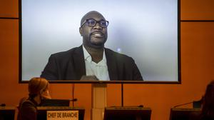 Philonise Floyd, left, brother of George Floyd speaks (via video message) at the Human Rights Council of the United Nations in Geneva, Switzerland (Martial Trezzini/AP)