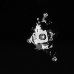 The Apollo 13 lunar module photographed from the command module just after the lunar module was jettisoned, about an hour before splashdown (AP)