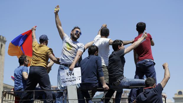 Supporters of opposition lawmaker Nikol Pashinian protest in Republic Square in Yerevan (AP)