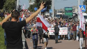 There have been protests across Belarus since the election (AP Photo/Dmitri Lovetsky)