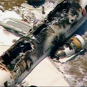 The scene after an Asiana Airlines flight crashed while landing at San Francisco Airport (AP/KTVU)