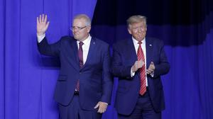 President Donald Trump, right, and Australian Prime Minister Scott Morrison take the stage last month in Wapakoneta, Ohio (John Minchillo/AP)