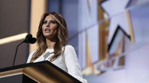 Melania Trump speaks at the Republican National Convention in Cleveland (AP)