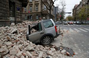 A car crushed by falling debris in capital Zagreb