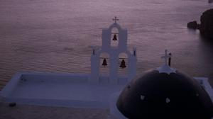 The cupola and bells of an Orthodox church on the Greek island of Santorini (PA)